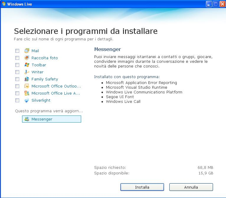 installazione windows live messenger 2009